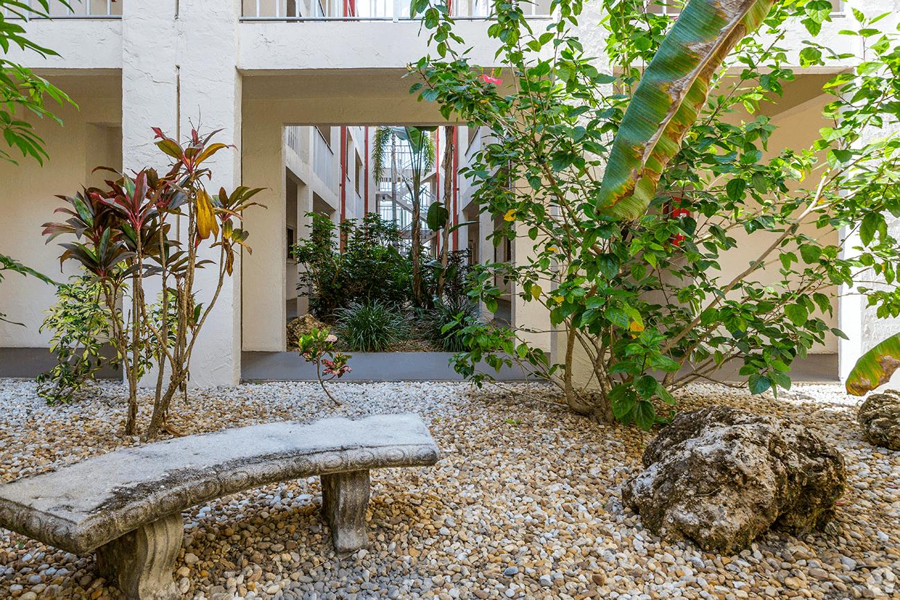 Tropical atrium in each building