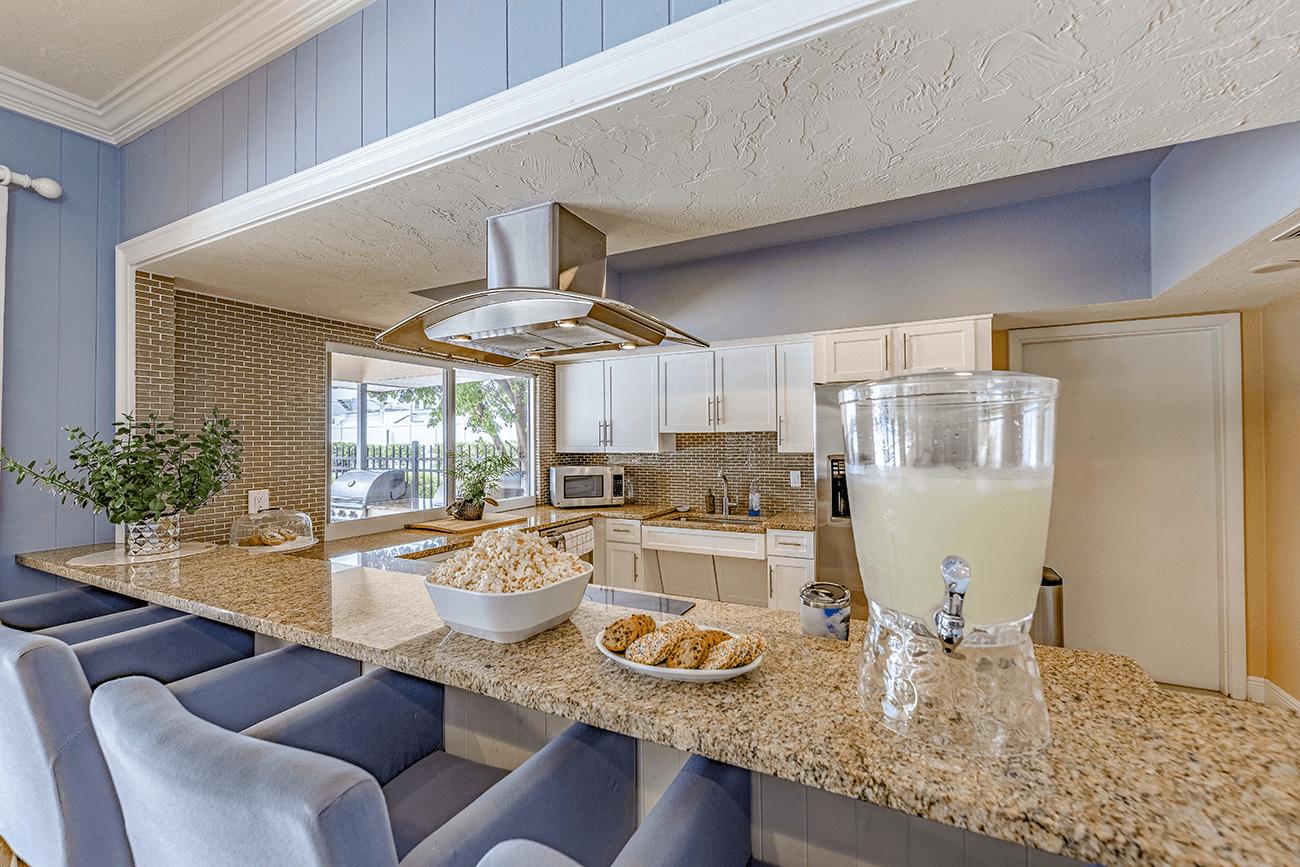 Party room features full kitchen