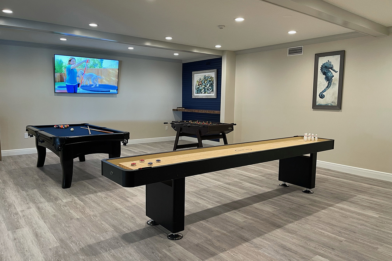 Brand new (2021) game room with shuffleboard...